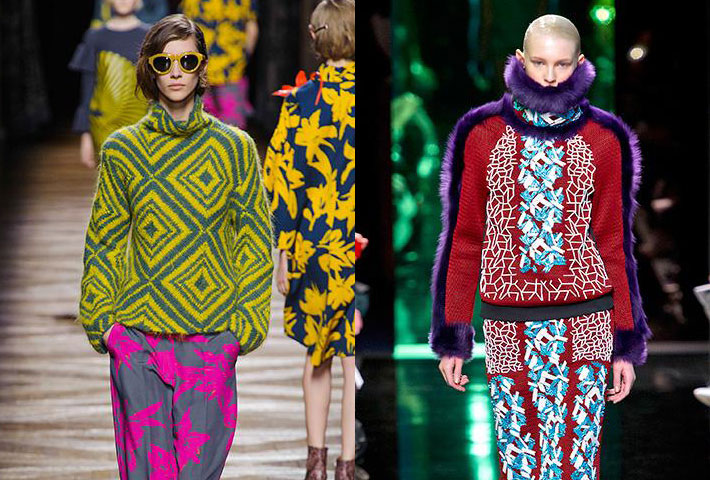 Dries Van Noten e Peter Pilotto autunno inverno 2014 2015 tricot colorati