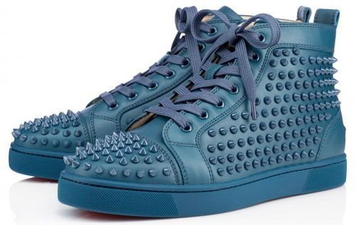 Scarpe Uomo Autunno Inverno 2014-2015 Christian Louboutin sneaker blu  ardesia borchiate 996d2987779